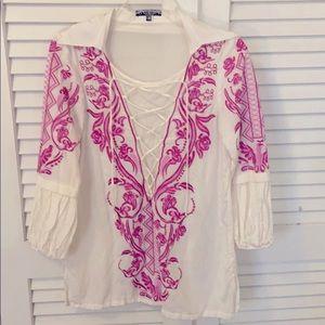 Gucci Embroidered White Cotton Top